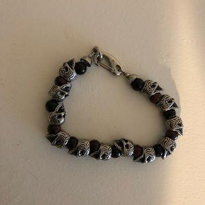 Other - Men's skull bracelet with beads